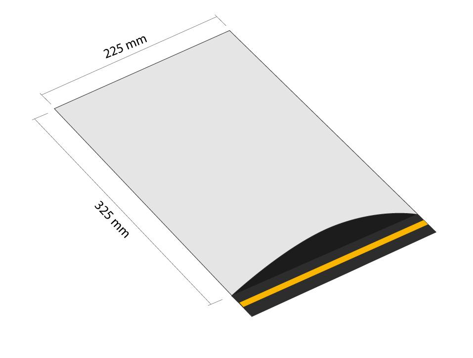 Samoprzylepna koperta plastikowa 225x325 mm z klapką (opakowanie 100 szt.)