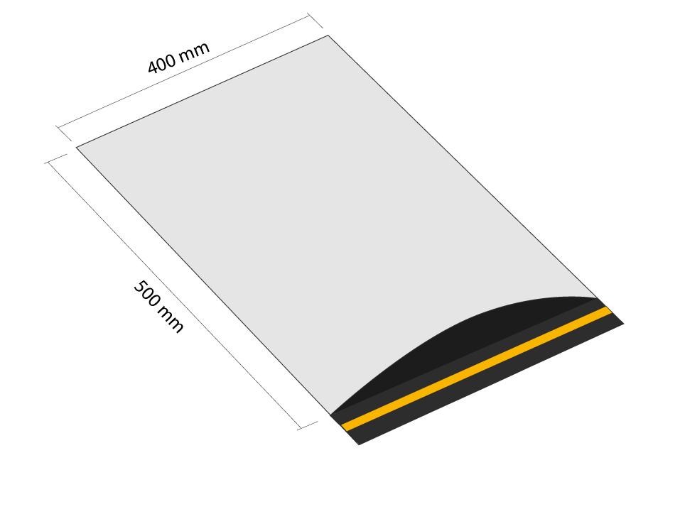 Samoprzylepna koperta plastikowa 400x500 mm z klapką (opakowanie 100 szt.)